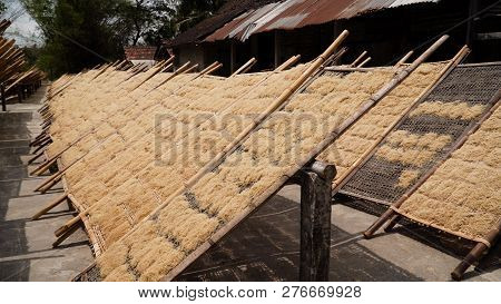 Noodle Drying In Sun At Noodle Factory In Indonesia Bantul, Yogyakarta, Indonesia