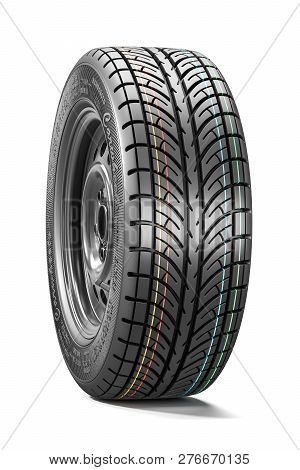 New Car Wheel. Tire Tread, Side View. Object Isolated On White Background. 3d