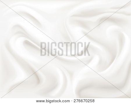 Yogurt, Cream Or Silk Texture Illustration Of 3d Liquid White Paint Wavy Flow Pattern Background For