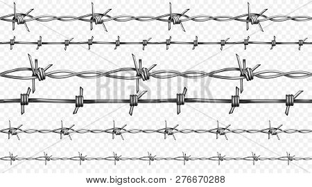 Barbed Or Barb Wire Illustration Of Seamless Realistic 3d Metallic Fence Wires With Sharp Edges Isol