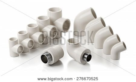 Pvc Fittings Of Pipeline Isolated On White Background 3d