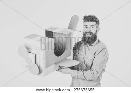 Bearded Man Father Hold Cardboard Plane Isolated On White. Man Engineer, Pilot School, Innovation. D
