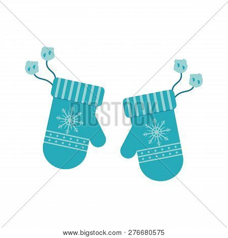 Vector Illustration Of Winter Knitted Mittens With Fur Pompoms.