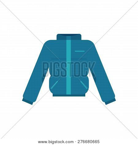 Vector illustration of winter blown jacket in flat style - warm thermal cloth isolated on white background. poster