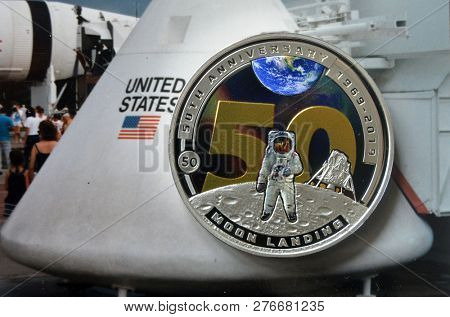 Illustrative Editorial.Half dollar of Solomon Islands. 50th anniversary of the television broadcast of the landing of a man on the moon. Special edition coin. Kiev,Ukraine. January 2 ,2019