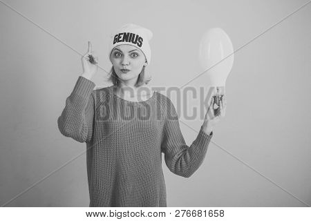 Idea And Creative Concept. Woman Points Up With Finger, Has Idea, Pink Background. Lady With Surpris