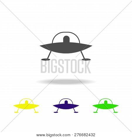 Flying Saucer With Aliens Multicolored Icons. Element Of Ufo Icon Can Be Used For Web, Logo, Mobile