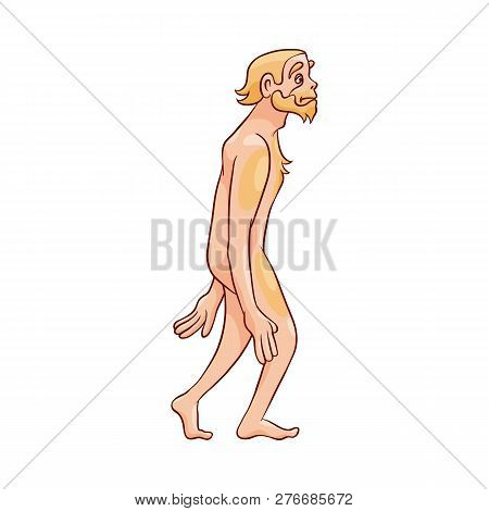 Vector Illustration Of Neanderthal Man Walking Isolated On White Background.