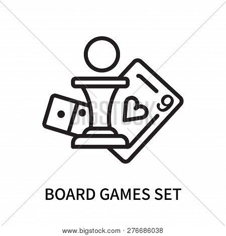 Board Games Set Icon Isolated On White Background. Board Games Set Icon Simple Sign. Board Games Set