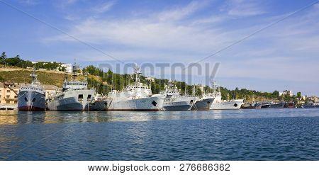Sevastopol, Crimea - June 23, 2015: View On Russian Navy Warship In Sevastopol Bay. Russian Black Se