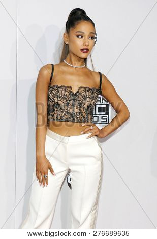 singer-actress Ariana Grande at the 2016 American Music Awards held at the Microsoft Theater in Los Angeles, USA on November 20, 2016.