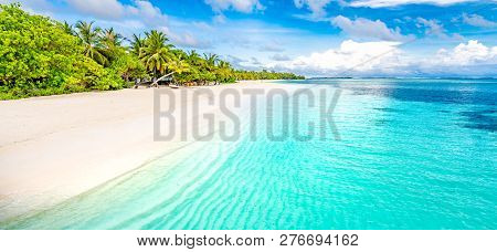 Tranquil Beach Scene. Exotic Tropical Beach Resort, Landscape For Background Or Wallpaper. Design Of