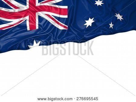 National Flag Of Australia Hoisted Outdoors With White Background. Australia Day Celebration