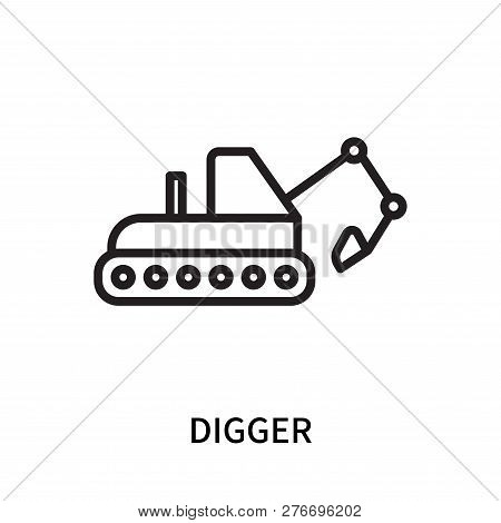 Digger Icon Isolated On White Background. Digger Icon Simple Sign. Digger Icon Trendy And Modern Sym
