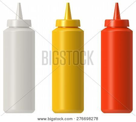 Ketchup Mustard Mayo Plastic Squeeze Bottle Isolated
