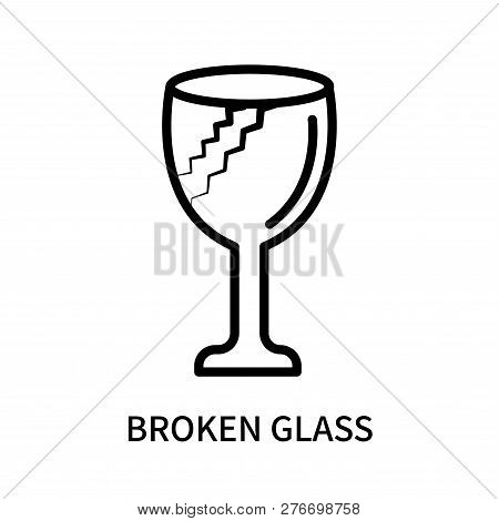 Broken Glass Icon Isolated On White Background. Broken Glass Icon Simple Sign. Broken Glass Icon Tre