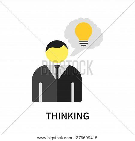 Thinking Icon Isolated On White Background. Thinking Icon Simple Sign. Thinking Icon Trendy And Mode
