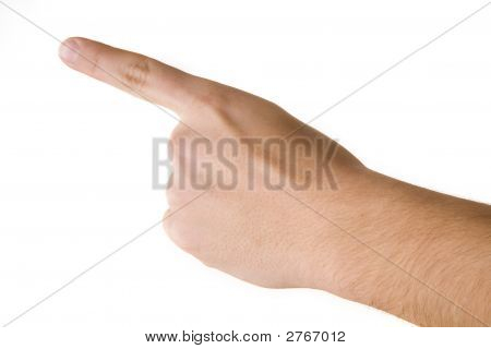 Human Finger Is Point Out White Background