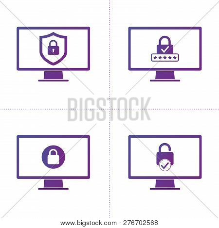 Set Of Computer Security Protection Business Information Data With Shield And Lock Symbol. Protected