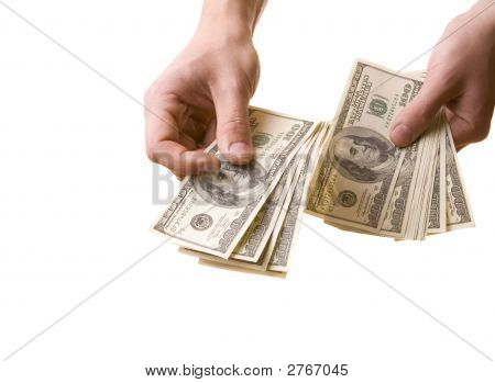 The Man Give American Dollars On White