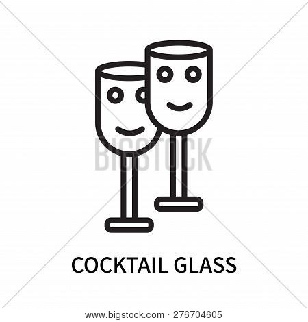 Cocktail Glass Icon Isolated On White Background. Cocktail Glass Icon Simple Sign. Cocktail Glass Ic