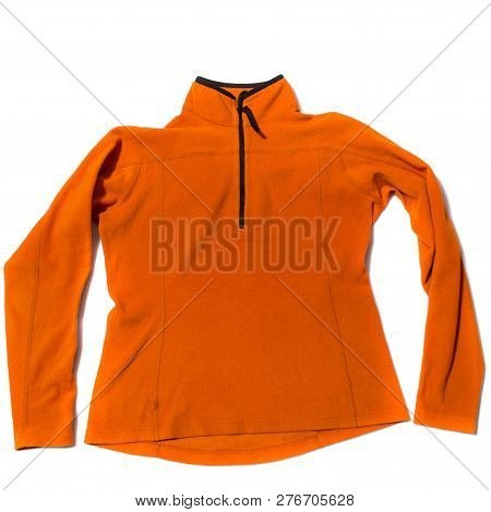 Orange Womens Fleece Jacket On White Background