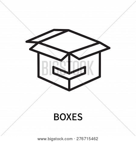 Boxes Icon Isolated On White Background. Boxes Icon Simple Sign. Boxes Icon Trendy And Modern Symbol