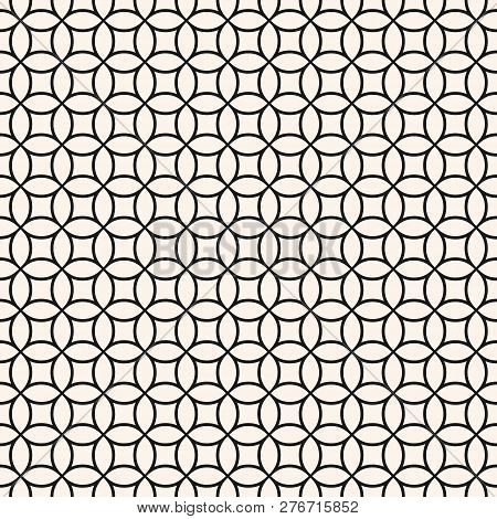 Circle Grid Pattern. Vector Seamless Texture With Thin Rounded Lines, Delicate Mesh, Net, Lattice, L