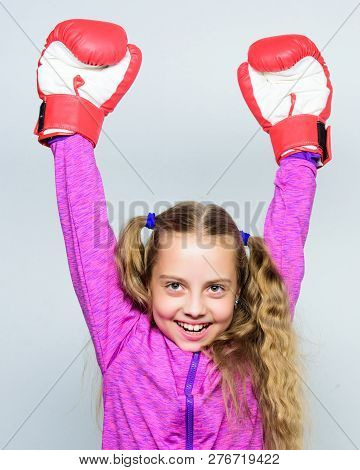 Skill Of Successful Leader. Sport Upbringing. Girl Cute Child With Red Gloves Posing On White Backgr
