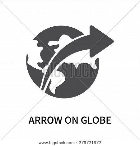Arrow On Globe Icon Isolated On White Background. Arrow On Globe Icon Simple Sign. Arrow On Globe Ic