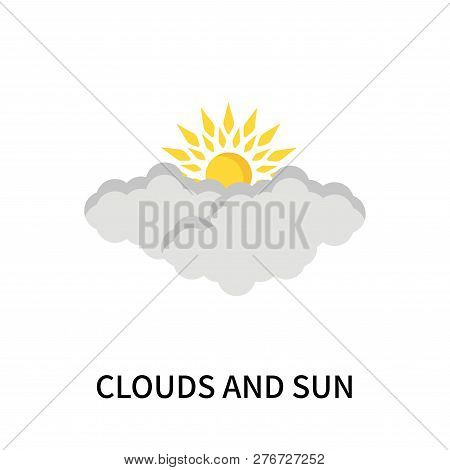 Clouds And Sun Icon Isolated On White Background. Clouds And Sun Icon Simple Sign. Clouds And Sun Ic