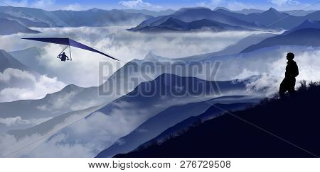 Here Is A View Of Heavy Fog In Valleys And Mountains In Shades Of Blue Extending Out Of The Fog. A P