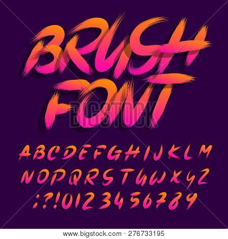 Brush alphabet font. Uppercase brushstroke messy letters and numbers. Stock vector typescript. poster