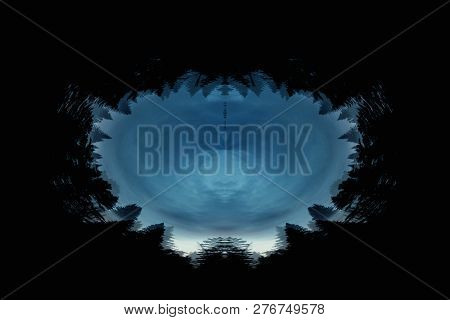 Scary background with ghostly portal in dark night tones. Night silhouette of creepy supernatural powers in shadow with copy space. Halloween pattern close up. Symmetric template with spooky form. poster