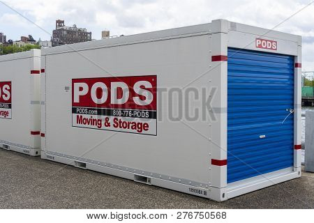 New York, Usa - May 21, 2018: Portable On Demond Storage Pods Container In New York City. It Is A Mo