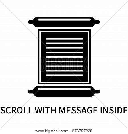 Scroll With Message Inside Icon Isolated On White Background. Scroll With Message Inside Icon Simple