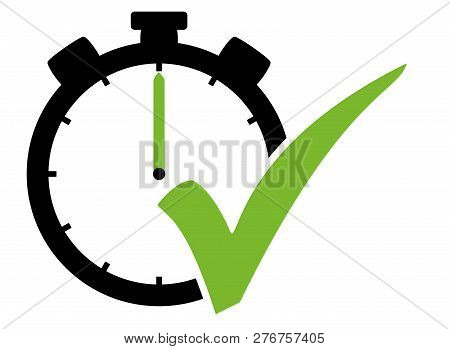 Stopwatch Icon Black With Green Tick Symbol