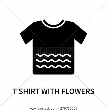 T Shirt With Flowers Icon Isolated On White Background. T Shirt With Flowers Icon Simple Sign. T Shi