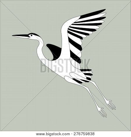 Heron Flying , Vector Illustration , Lining Draw, Profile View