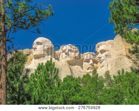 Mount Rushmore National Memorial Is A Sculptural Rock Complex In South Dakota, Black Hills, Made Up