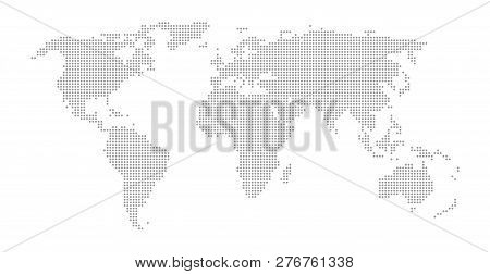 Simple World Map With Grey Dots On White Background