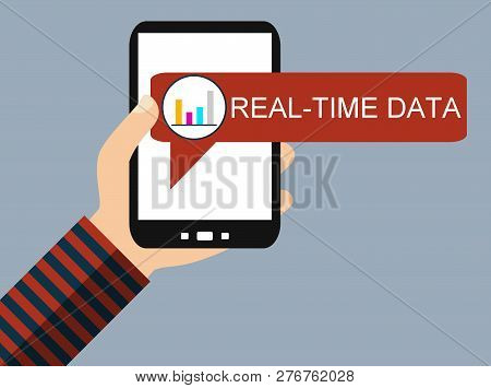 Hand Holding Smartphone With Diagram Icon: Realt-time Data - Flat Design