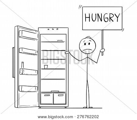 Cartoon Stick Drawing Conceptual Illustration Of Depressed Man Holding Hungry Sign And Empty Fridge