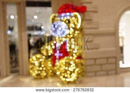 Christmas Teddy Decoration With Led Lighting In Shopping Mall