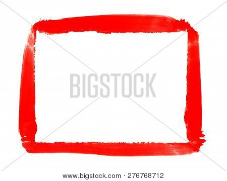 Sketch Of Hand Painted Red Brush Frame