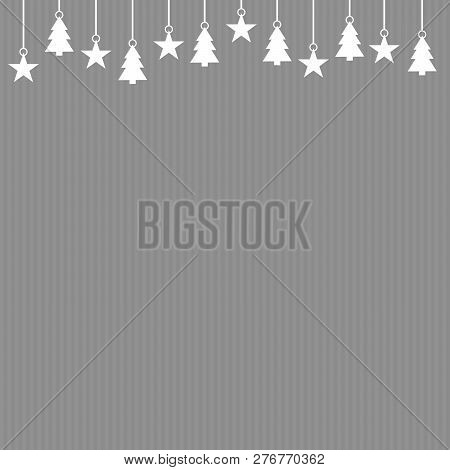 Striped Grey Background Christmas Card With White Decoration