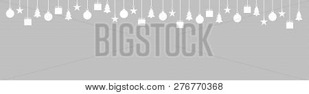 Light Grey Wide Christmas Banner With White Hanging Christmas Decoration