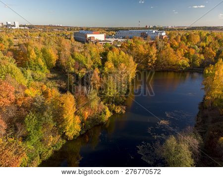 Nizhny Kamensky Pond In Zelenograd Administrative District In Moscow. Russia