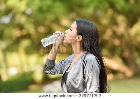 Woman Drinking Water Bottle Health Concept Smiling Young Girl Relax Exercise And Hold Water Bottle F