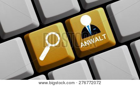 Yellow Computer Keyboard With Magnifier Glass Showing Lawyer In German Language